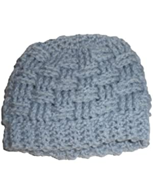 Handmade Gray Basketweave Beanie Size Newborn