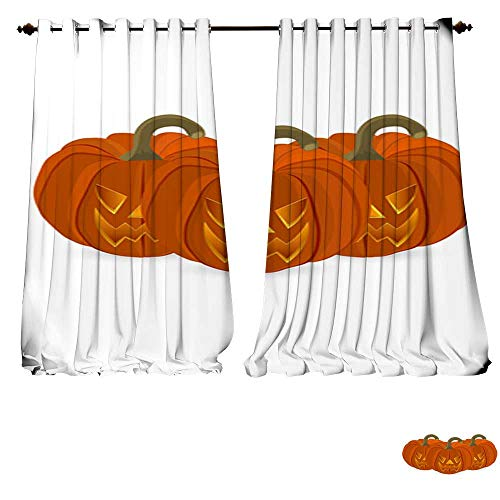 DESPKON-HOME Thermal Insulating Blackout Curtain Wicked Pumpkin for Halloween Jack Lantern Pocket Insulated Tie Up Curtains -W72 x -