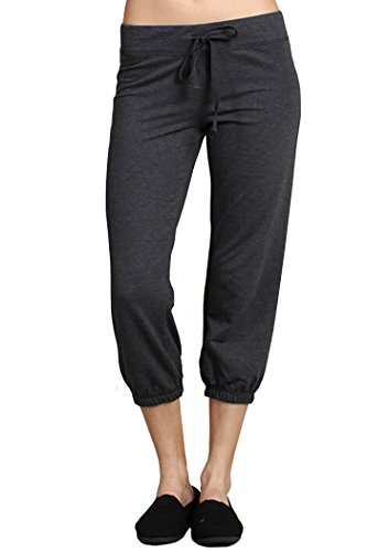 Any Time Chino Pant (Ever77 Women's Athleisure Cropped Jogger Sweat Pants/S,M,L,XL/TP1030DO-Char,XL)