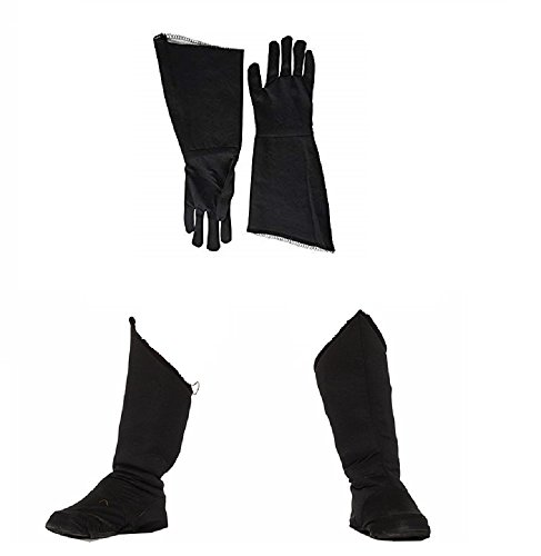 Nicky Bigs Novelties Child Superhero Black Shoe Covers Boot Tops and Gauntlet Gloves Costume (Children Black Superhero Boot)