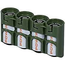 Storacell by Powerpax SlimLine CR123 Battery Caddy, Military Green, Holds 4 Batteries