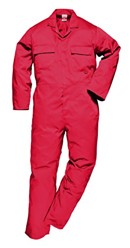 Euro Work Polycotton Boilersuit Overall Coverall (Medium, Red)
