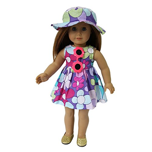 Set of 4 Beach Outfitst- Dress + Hat + Sunglass + Shoes fits for 18 inches American Girl Doll of Summer Holiday