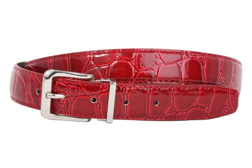 Clamp On Single Loop Silver Faux Alligator Grain Patent Leather Belt Size: One-size-fits-all Color: Red Alligator Print Leather Belt