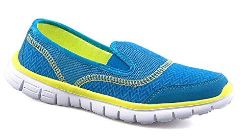 Dek ,  Damen Durchgängies Plateau Sandalen mit Keilabsatz , blau - türkis - Größe: 39