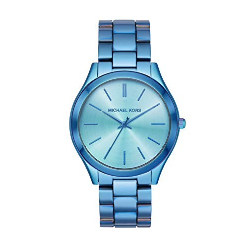Michael Kors Women's Slim Runway Quartz Watch with Stainless Steel Strap, Blue, 20 (Model: MK4390) (Slim Runway Stainless Steel Watch)