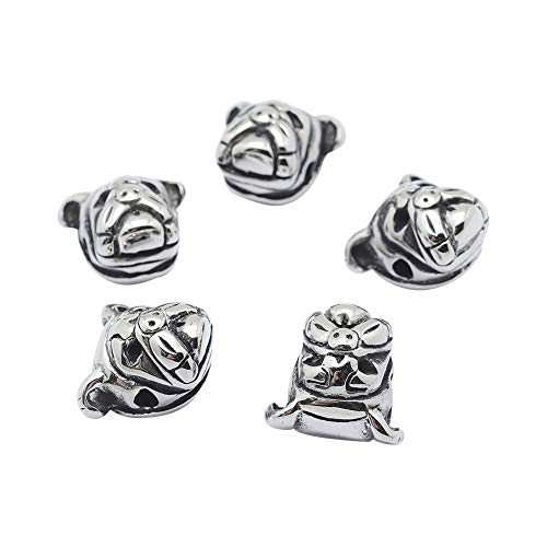 (PH PandaHall 10pcs 2mm Stainless Steel Bulldog Beads Charms Pug Dog Pitbull Puppy Pet Head Bead Spacer Beads Antique Silver European Charm for Necklace Bracelet Pendants Jewelry DIY)