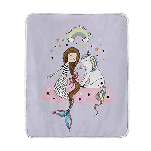 DOSHINE Couvre-lit, Licorne Mignonne sirène Arc-en-Ciel Doux léger Warmer couvertures 127 x 152,4 cm pour canapé lit Chaise de Bureau