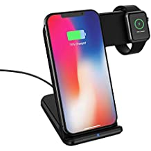 MoKo Fast Qi Wireless Charger Stand, 2 in 1 Fast Charging Dock Compatible with iWatch Series 2/3, iPhone Xs/XR/XS MAX/X/8/8 Plus, Samsung Galaxy S9/S9+, Other Qi-Enabled Devices - Black