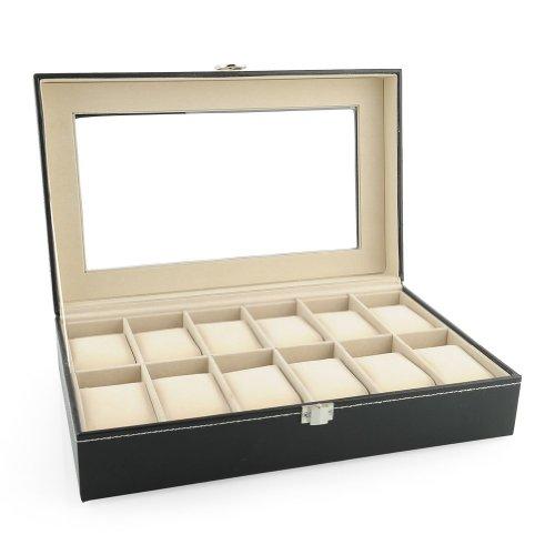 Amzdeal-Coffret-pour-montres-Prsentoir--montre-Noir-Cuir-PU-botier-rangement-12-montres