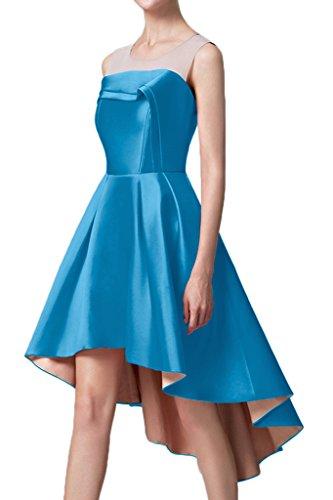 Avril Robe Élégante Robe Empire De Satin Formel Salut-lo Manches Cocktail Nouveau Bleu