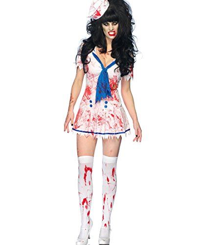 Women's Zombie Decaying Sailor Debbie Dress Outfit Adult Halloween Costume New (Sweetheart Sailor Adult Womens Costume)