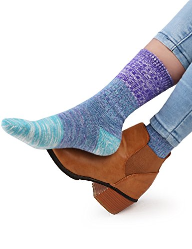 VERO MONTE 4Pairs Patterned Warm Cotton Socks for Women Casual Womens Socks Crew