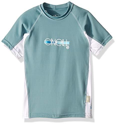(O'Neill Wetsuits Girl's Premium Skins UPF 50+ Short Sleeve Rash Guard, Eucalyptus/White/Eucalyptus, Size 16)