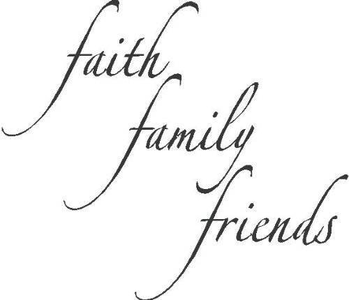 Faith Family Friends Picture Art - Living Room - Peel & Stick Sticker - Vinyl Wall Decal - Size : 12 Inches X 12 Inches - 22 Colors Available