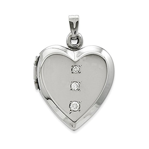 14KT White Gold Polished Heart w/ 3' CZ's on Locket (14kt Gold Italian Charm Heart)