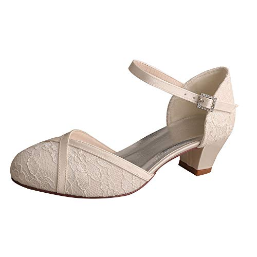 Women MW2018 Women Comfort Low Heel Ankle Strap Closed Toe Lace Bridal Wedding Shoes Size 9 Ivory ()