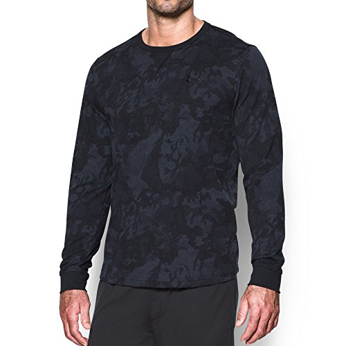 Under Armour Men's Waffle Printed Crew, Black/Black, X-Large
