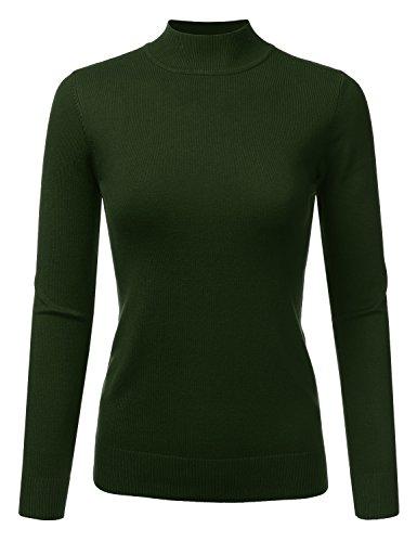 JJ Perfection Women's Soft Long Sleeve Mock Neck Knit Sweater Top Olive L -
