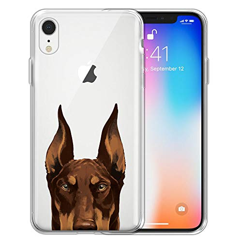 (FINCIBO Case Compatible with Apple iPhone XR 6.1 inch, Clear Transparent TPU Silicone Protector Case Cover Soft Gel Skin for iPhone XR - Red Chocolate Doberman Pinscher Dog)