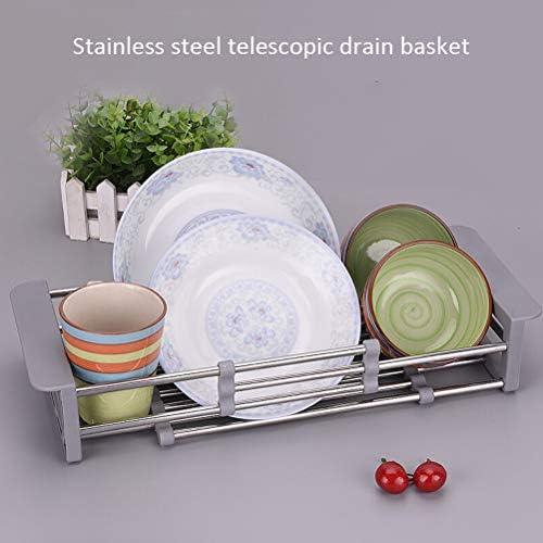 MAyouth Scolapiatti Retrattile Dispersore dellAcqua Filtro Rack Scarico Carrello in Acciaio Inox Kitchen Sink Contatore Scolapiatti