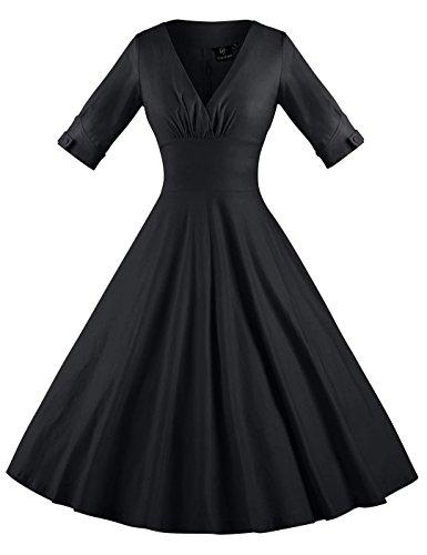 Shorts Sleeve Short Sleeve 3/4 - GownTown Womens Dresses V-neck 3/4 Sleeves 1950s Vintage Dresses Swing Stretchy Dresses,Black,Medium