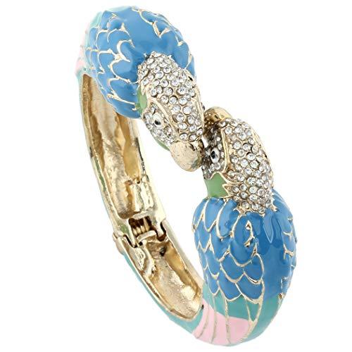 EVER FAITH Women's Austrian Crystal Enamel Parrot Bird Bangle Bracelet Blue w/Green Gold-Tone