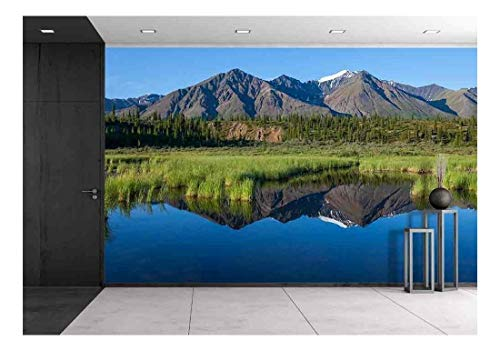 wall26 - Mckinley Reflection in Lake on Alaska - Removable Wall Mural | Self-Adhesive Large Wallpaper - 66x96 ()