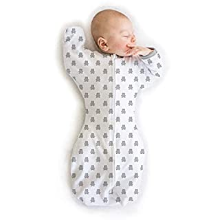 Amazing Baby Transitional Swaddle Sack with Arms Up Half-Length Sleeves and Mitten Cuffs, Tiny Bear, Sterling, Medium, 3-6 Months (Parents' Picks Award Winner)