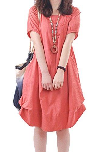 Ropa De Algodon De Manga Corta De Mujer Vintage Loose Fit Plus Tamaño Vestido Maxi Con Bolsillos Red