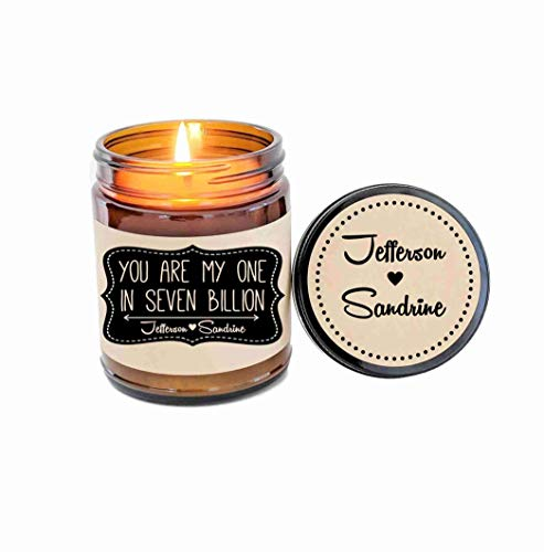 Personalized Candle Soy Candle Scented Candle You Are My One In Seven Billion Jar Candle Custom Candle Boyfriend Gift Girlfriend Gift -