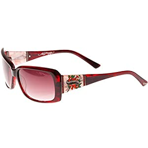 Ed Hardy Heart & Dagger Sunglasses Burgundy Red Gradient 58 15 135