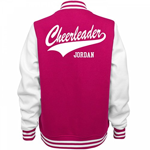 Cheerleader Jordan:Ladies Fleece Letterman Varsity Jacket - Pink Jordan Jacket