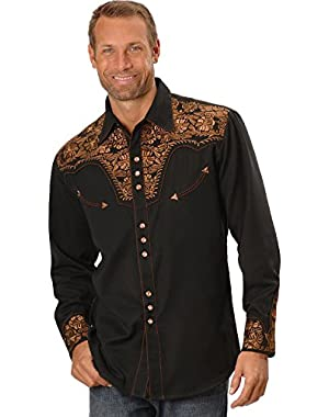 Men's Floral Embroidered Western Shirt - P-634Blk