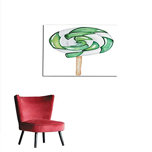 Photo Wall Paper Green Swirl Lollipop on Wooden Stick Shiny Round Big Single Object Colorful and Bright Front View Design Holiday Decoration Mural 24