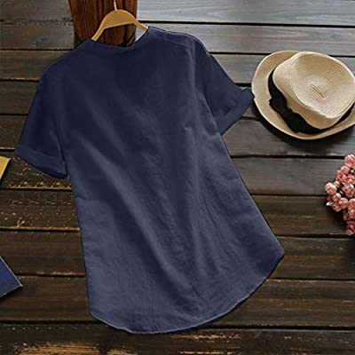 Cotton Linen Shirts for Women, F_Gotal Women's Stand Collar Long Sleeve Casual Loose Henley Tunic Tops T Shirt Blouse at  Women's Clothing store