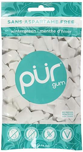 - The PUR Company  | Sugar-Free + Aspartame-Free Chewing Gum  | 100% Xylitol  | Wintergreen | Vegan + non GMO  | 55 Pieces per Bag