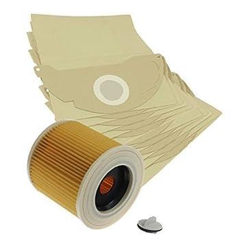 Bolsas de papel Vacspare redondas y cartucho de filtro de color para Kärcher MV2 aspiradoras (unidades 10 bolsas)