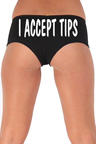 Women's Juniors White I Accept Tips Booty Shorts: BLACK MEDIUM (The Today Show Halloween Costumes)