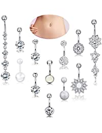 12Pcs Stainless Steel Belly Button Rings Women Girls Dangle Ball Navel Rings Body Jewelry Piercing 14G
