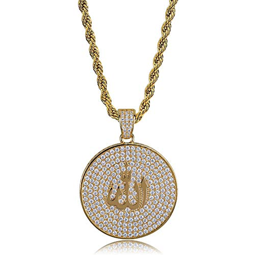 - TOPGRILLZ Iced Out Zircon Simulated Diamond Jewish Star of David,Muslim Islam Round Allah and Pyramid with The Eye of Horus Pendant with Stainless Steel Neckalce Hip Hop (Gold Allah)