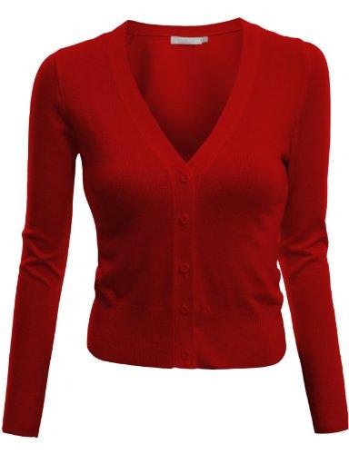 Doublju Womens Long Sleeve V-Neck Cardigan Button Front Crop Cardigan (S - 3XL)
