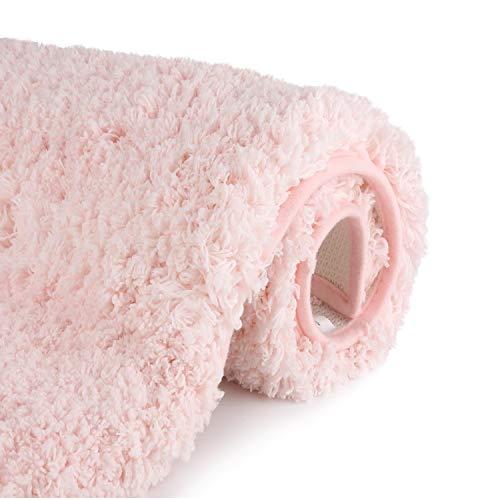 Luxury Pink Bathroom Rugs Shaggy Bath Rug Non Slip Bath Mat (20 x 32) - Efficient Water Absorbent, Machine Wash/Dry & Extra Soft Plush Bath Tub Mat for Bathroom, Living -