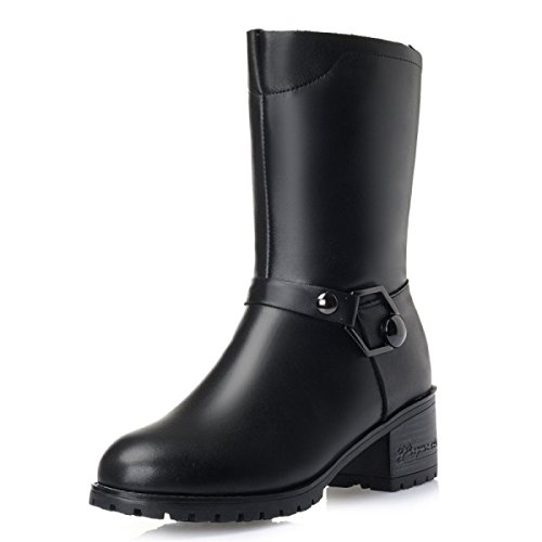 GTYW Ladies High Heels Women's Boots Ladies Winter New In Boots Thick With Velvet Cotton Shoes Wool Women's Boots Wild Warm Women's Cotton Boots BlackFluff