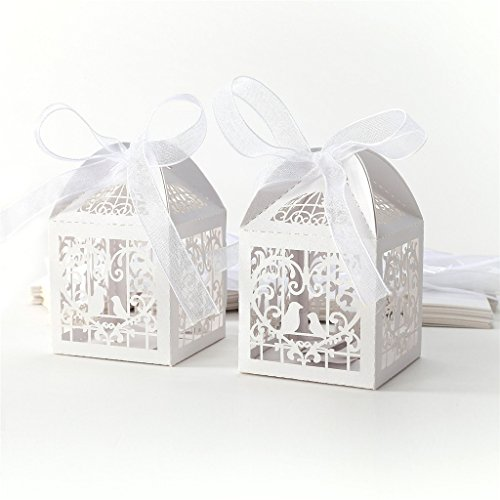 Sugawin 50Pcs Love Birds wedding boxe Candy Box with Ribbons Wedding Party - White