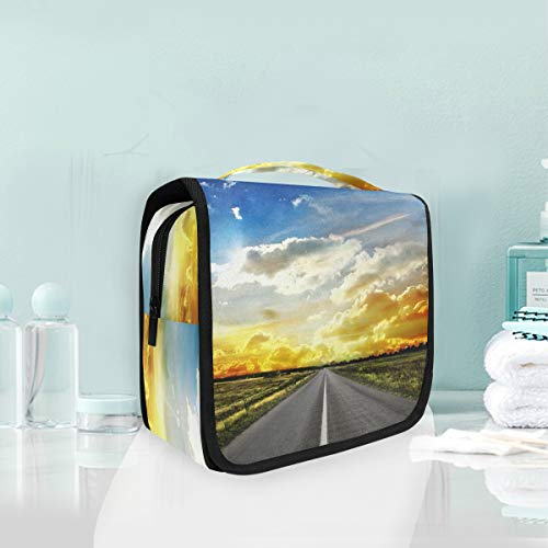 (Makeup Cosmetic Bag Road Across Steppe Sunset Clouds Landscape Portable Storage Travel Toiletry Bag)