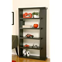 Furniture of America Gridley Decorative Modern 5-Shelf Tall Free Standing Flair Cappuccino Bookcase-Bookshelf Display Stand