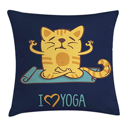 (Ambesonne Animal Throw Pillow Cushion Cover, I Love Yoga Theme Cute Cartoon Cat Exercise Mat Lotus Position, Decorative Square Accent Pillow Case, 18 X 18 Inches, Dark Blue Light Blue Yellow)