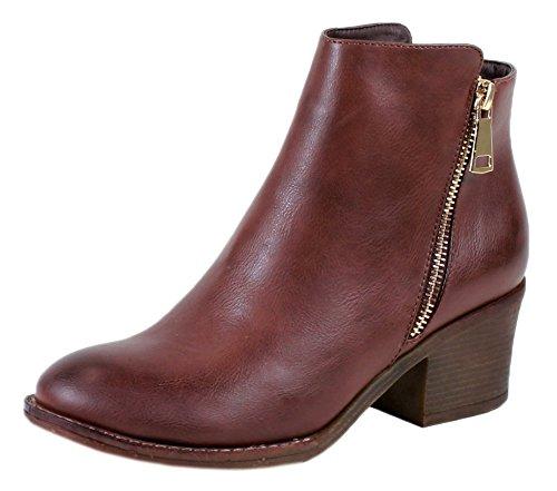 Women's Pama-02 Two-tone Metallic Zipper Chunky Heel Ankle Boot