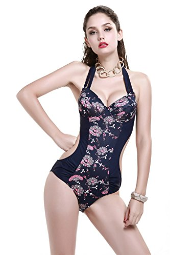 Le Besi Mujer Fashion One Piece, diseño elegante inspirado Monokini Purplish Blue